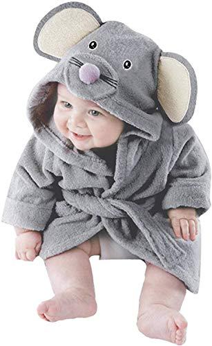 Little Hand Kapuzenhandtuch Baby:Badetücher mit Kapuze für Jungen und Mädchen, Flanell, Grauer süßer Maus Baby-Bademantel 0-5 Jahre.