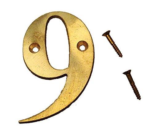 9–7,6cm numéros de laiton–fois romain–Maison Panneau de porte–Nombre - Ottone 3 Pollici Casa Numero