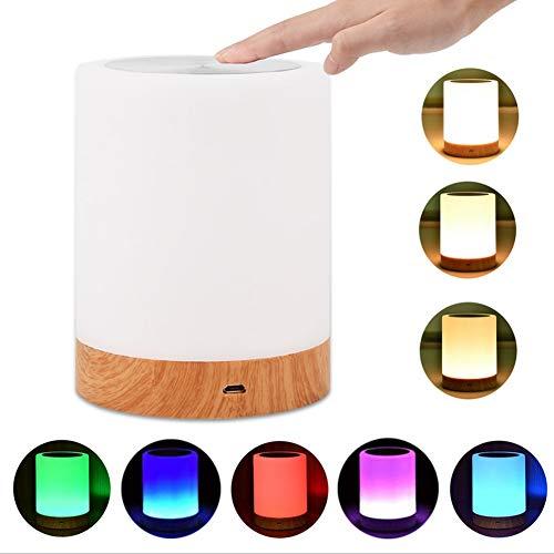 Nachttischlampe mit Touch Sensor Dimmbar Warmweißes Licht Smart Stimmungslicht mit Farbkombinationen als Dekolampe für Kinderzimmer