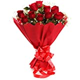 The FloralMart TFM Fresh Flower Bouquet Red Roses in Paper Packing, Bunch of 8