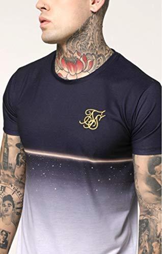 Sik Silk S/S Gold Fleck Curved Hem Tee - Navy, Blau L