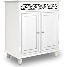 "White Wooden Cabinet Cupboard Sideboard ""Nostalgia"" Doors Storage Furniture Freestanding Rustic Shabby Chic Cottage Country House French Style"