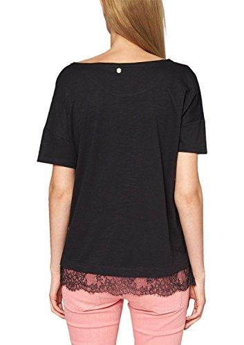 s.Oliver Damen T-Shirt in Melangeoptik mit Spitzeneinsatz Schwarz (black 9999)