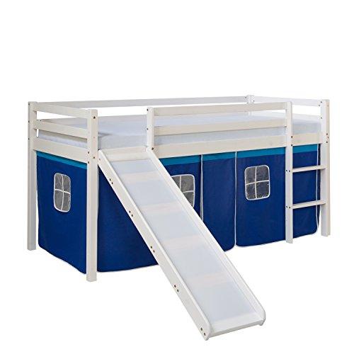 Homestyle4u 1544, Kinder Hochbett Mit Rutsche, Leiter, Vorhang Blau, Massivholz Kiefer Weiß, 90x200 cm (Kinderbett Mit Tasche)
