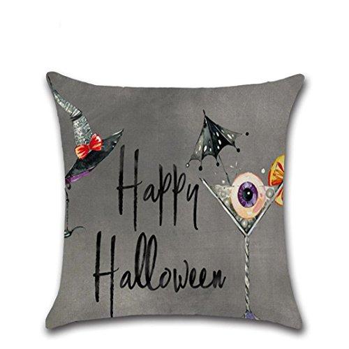 Halloween Decor Kissen, paymenow Happy Halloween Kissen Leinen Sofa Kissenbezug Home Decor, Leinen, C, 40,6 x 40,6 cm
