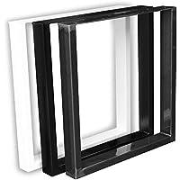 1 Paar (2 Stück) in Schwarz Pulverbeschichtet Kufen Tischkufen Tischgestell Tischuntergestell Tischkufe Kufengestell (B…