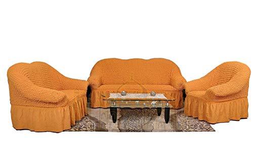 Sultan-Palace Bielastisch 2 Sitzer Bezug, 2 Sitzer Husse. Sehr elastische Auflage in senffarbe/orange. Sofabezug Hussen Sofahusse Sofa Husse/Stretch Hussen/Sofahusse 2-Sitzer/Sofabezug 2 Sitzer