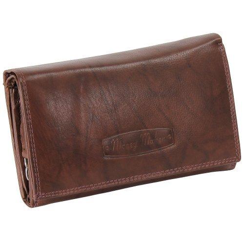 Damen Leder Geldbörse Damen Portemonnaie Damen Geldbeutel - Lang Braun Leder - Geschenkset + exklusiven Ledershop24 Schlüsselanhänger