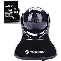Videocamera di Sorveglianza, Yokkao® IP Camera con [1280 x 720p HD] [32 GB TF-Scheda] Sicurezza Camera Wlan WIFI Babycamera Sistema di Sicurezza KK002-2 (Nero)