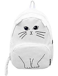 Tomtopp Women Cat Printing Canvas Backpacks School Bag Ladies Rucksack Bookbags
