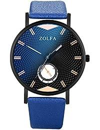 Reloj De Cuarzo De Los Hombres,Reloj Digital Hombre Busines Watches Correa De Cristal Azul
