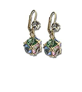 Simply Glamorous Jewellery-9ct Gold Filled Lever Back Earrings Multi Gems Cubic Zirconia