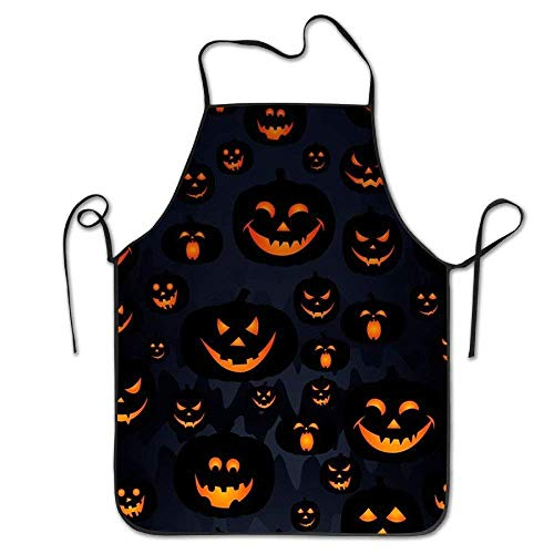 ghfghgfghnf Halloween Pumpkin Lock Edge Waterproof Durable String Adjustable Easy Care Cooking Apron Kitchen Apron for Women Men Chef