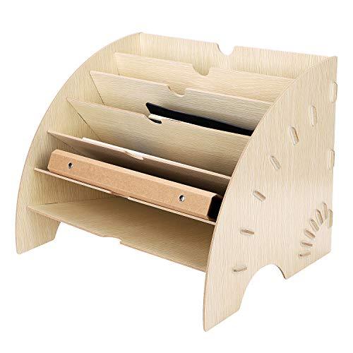 Portalettere in legno, accessori da scrivania, A4, portadocumenti, organizer per ufficio, studio, casa, con 6 scomparti, per riviste, raccoglitori A4 Beige