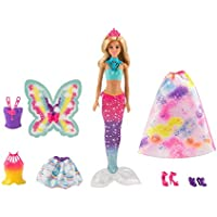 Barbie Dreamtopia poupée Bonbons ou Arc-en-Ciel Coffret 3 en 1 avec Tenues de Princesse, sirène et fée, Jouet pour Enfant