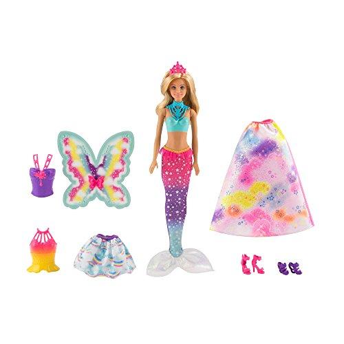 Barbie FJD08 - Dreamtopia 3-in-1 Fantasie Puppe, Fee Meerjungfrau und Prinzessin, Puppen Geschenkset mit Zubehör, Mädchen Spielzeug ab 3 ()