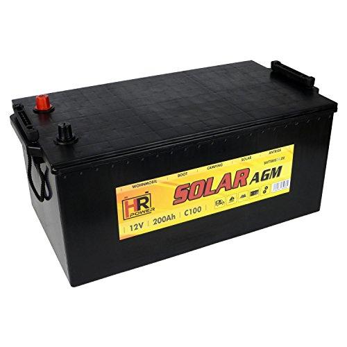 HR Solar AGM   12V 200Ah Versorungsbatterie als Wohnmobilbatterie Bootsbatterie Solarbatterie Wohnwagenbatterie VRLA Vliesbatterie