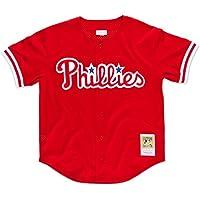 John Kruk Philadelphia Phillies Mitchell & Ness Authentic Button 1993 BP Jersey