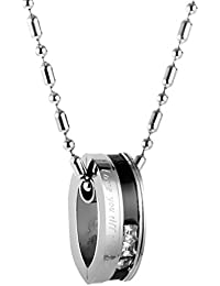 """MagiDeal Men Womens""""Love You Till The End"""" 316L Stainless Steel Couples Pendant Necklace Jewelry"""