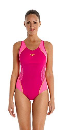 Speedo Damen Badeanzug Fit Muscleback mit Passe, Magenta/Fluo Pink/Fluo Orange, 30, 8-10379A57930