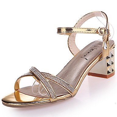 LvYuan Da donna Sandali Con cinghia PU (Poliuretano) Estate Casual Con cinghia Fibbia Quadrato Oro Argento 2,5 - 4,5 cm Gold