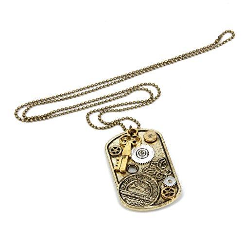 Steampunk Getriebe Cogs Anhänger Hängende Halsketten Perlen Kugel Ketten Antique (Halskette Getriebe)