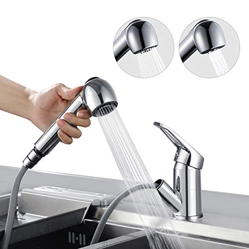 BONADE Wasserhahn Armatur mit ausziehbarer Brause Küchenarmatur 360° Schwenkbereich Spültischarmatur Mischbatterie aus Messing Chrom Einhebelmischer für Küche Spüle