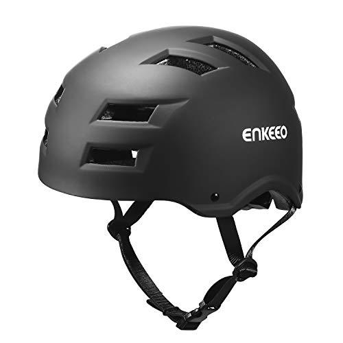 ENKEEO Kinderhelm Fahrradhelm Ultraleicht ABS kinderschutzhelm Skaterhelm 55-58cm Atmungsaktiv Motorradhelm, Schwarz M