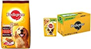 Pedigree Adult Dry Dog Food, Meat & Rice, 3Kg Pack & Vital Protection Adult Wet Dog Food, Lamb in Jell