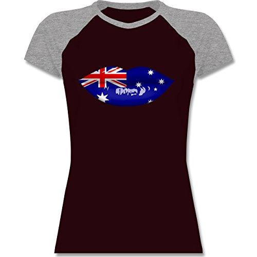 Länder - Lippen Bodypaint Australien - zweifarbiges Baseballshirt / Raglan T-Shirt für Damen Burgundrot/Grau meliert