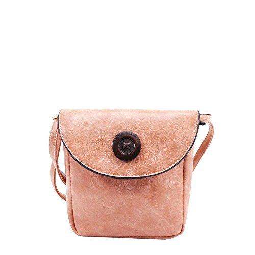 Haute für Diva S NEU Holz Knopf Verzierung Kunstleder Damen niedlich klein Umhängetasche Handtasche - Gelb, Small Rosa