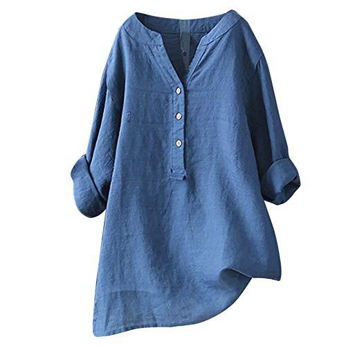 Jurtee camicetta donna elegante taglie forti, top a maniche lunghe con bottoni colletto tinta unita maglietta