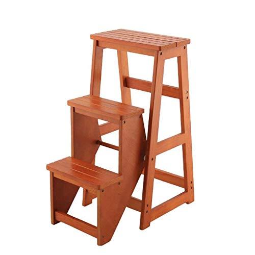 JTDBO Tragbarer Tritthocker, 3-Stufenleiter aus Holz rutschfeste Multifunktionsbibliothek Schlafzimmer Wohnzimmer Leicht zu verstauen 36x58x77cm -