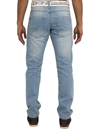ENZO Herren Steinwäsche Straight Fit Denim Jeans Hose Mit Gratis Gürtel Licht Steingewaschen