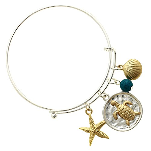 turtle-starfish-shell-charm-wire-bangle-bracelet-adjustable-bangle-bracelet-with-blue-bead