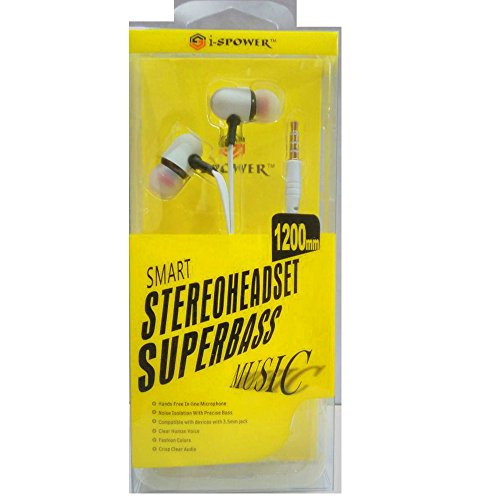 i-SPOWER Smart Stereo Headset Flat tangle-free cables with Super Bass Music Universal supported 3.5MM Hi-Fi Noise-Isolating In-Ear Piston Earphone with in line Mic - compatible with Samsung, Coolpad, Xiaomi, Redmi, Sony, Lenovo, Vivo, Gionee, Oppo, Micromax, Intex, Lava, LG, Nokia, All Apple & Android phone series and Tablets, MP3 Players, Laptops and Desktop & Gaming Console - i-SPOWER-HS-067-WHITE  available at amazon for Rs.249