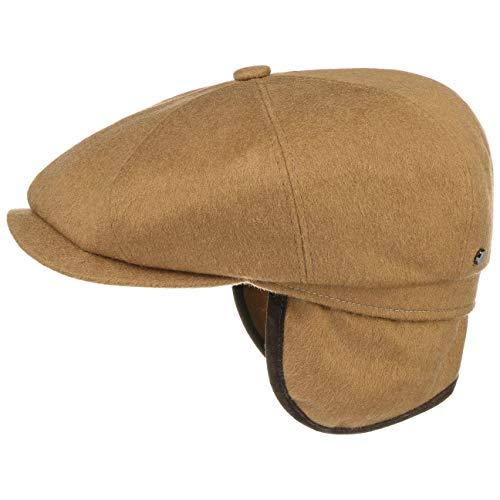 Stetson hatteras loden cap paraorecchie uomo   made in germany cappellino da cappello piatto cappelli invernali con visiera, paraorecchie, fodera, fodera autunno/inverno   60 cm cammello