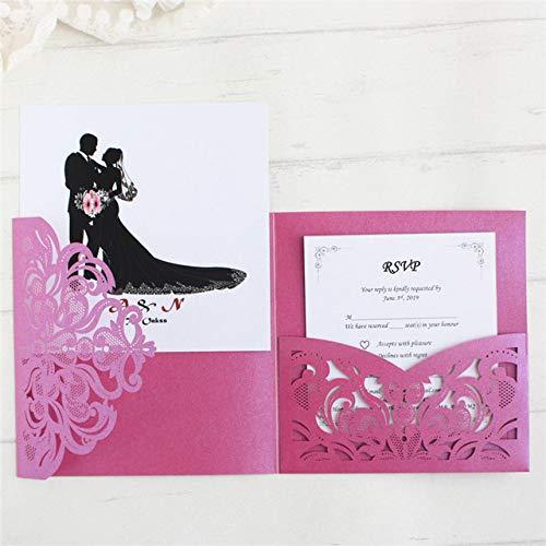 Dodom-Hochzeitseinladungskartentasche dreifach gefaltete Laser-Schnitt-Geburtstags-Abschlussfeier Laden Inhaber kundengebundenes Drucken, purpurrotes, Laser-Ausschnittkarte EIN