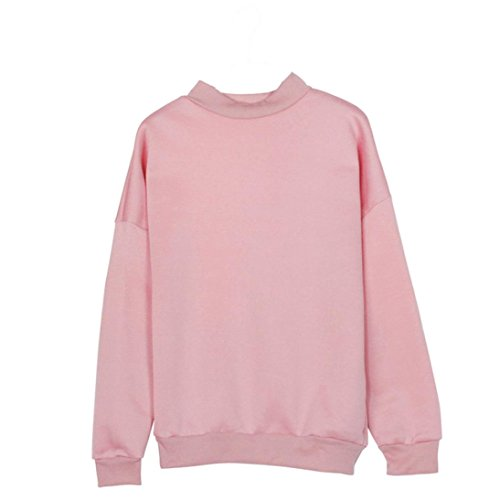DOLDOA Frauen Mädchen Sweatshirt lange Hülsen Ernte Pullover Veloursleder Pullover Oberseiten (EU:46, Rosa) (Cap Rib Rosa)