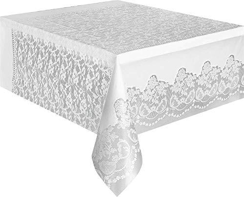 Unique Party Supplies Weiß Spitze Kunststoff Tischdecke, 9ft x 4.5ft