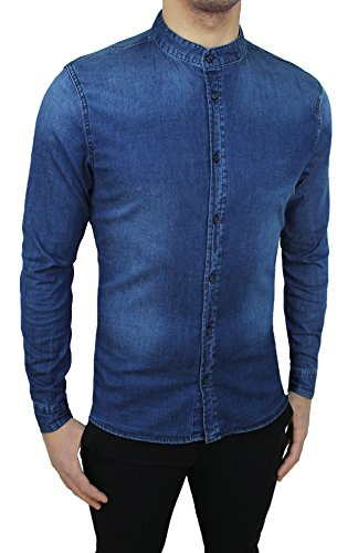 Camicia di jeans uomo blu scuro denim casual con colletto alla coreana (m)