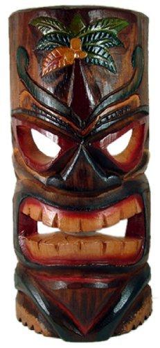 Tallado-Tiki-mscara-con-pintado-rbol-de-palma--grande
