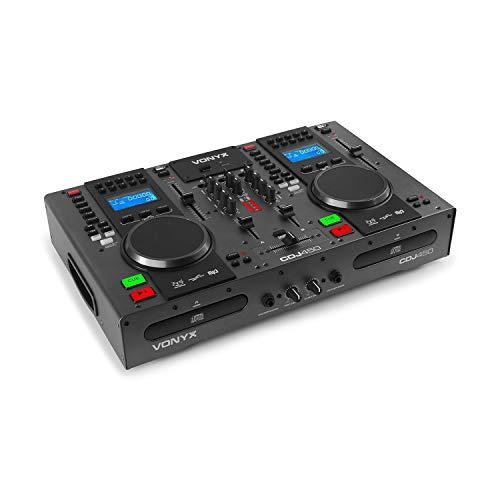 Vonyx CDJ450 DJ Workstation- 2 MP3-fähige CD-Player, Bluetooth-Funktion, 2 x USB-Port, 2-Kanal-Mixer, Mediaplayer, integrierte Ordnersuche, Tragegriffe