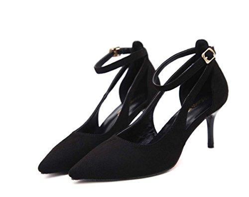 Sling Back Tacco Alto Shallow Pointed Toe Hollow Mid / Low Heel D'orsay Kitten Heel Donne Scarpe In Pelle Scarpe Da Sposa Femminile Di Nozze Black