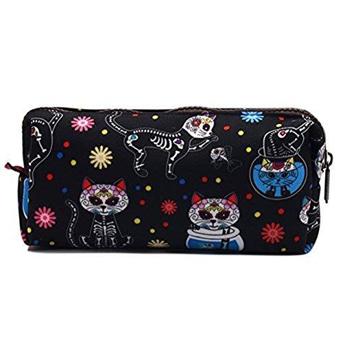 Día de los muertos gatos estuche bolsa de Dia de los muertos azúcar calavera funda con cremallera bolsa de Rockabilly de aseo de gatos bolsa