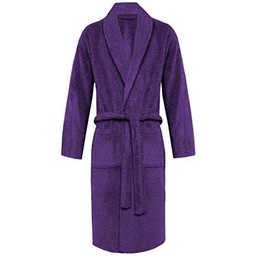 MYSHOESTORE Damen Bademantel, Einfarbig Mehrfarbig mehrfarbig Small Purple / Shawl Neck