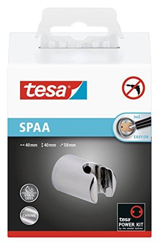 Tesa Spaa Duschkopfhalterung (verchromt, rostfrei, Wandmontage ohne Bohren, inkl. Klebelösung, 40mm x 40mm x 58mm)