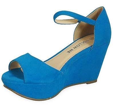 LoudLook Ladies New Womens Ladies Mary Jane Suede Low Heel Casual Wedges Shoes Sizes 3 4 5 6 7 8