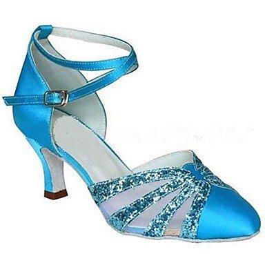 XIAMUO Anpassbare Frauen Latein/Modern Dance Schuhe Satin/funkelnden Glitter Satin blau Sandalen/Fersen angepasste Ferse Blau