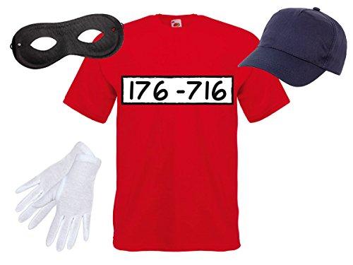 Alsino Panzerknacker Fan Kostüm Outfit Maske Set Cap Handschuhe Einbrecher Bankräuber Verkleidung, Variante wählen:T-Shirt/Cap/Maske/Handschuhe;Größe ()